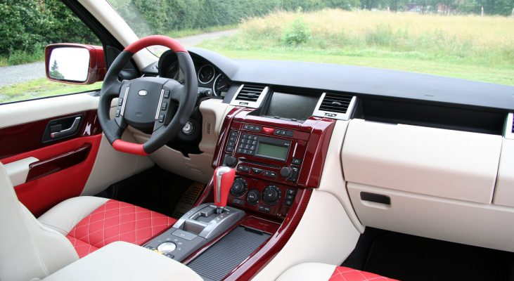 Arden-Range-Rover-interior-red-white-steering-wheel-middle-console